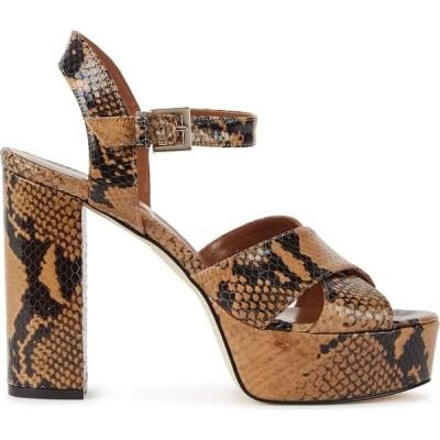 パリ テキサス Paris Texas レディース サンダル・ミュール シューズ・靴 120Mm Snake-Effect Platform Sandals Brown