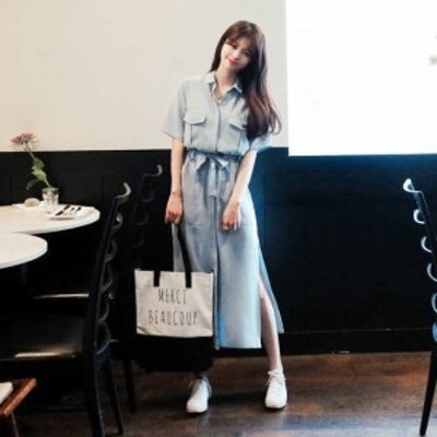 シャツワンピース 膝丈 ワンピース 大きいサイズ ゆったり 半袖 春ワンピース 春 韓国 ファッション レディース 韓国 レディース ファッ