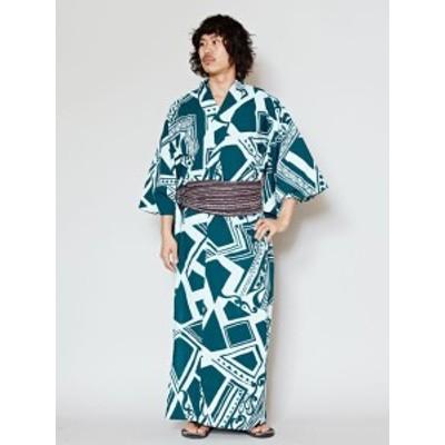 トラガクメンズ浴衣 エスニック チャイハネ 公式 IAC-7209男らしいトライバルを幾何学調プリントで表現したメンズユカタ。大胆なプリント