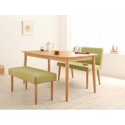 ダイニングセット 3点 (B) (幅150+カバーベンチ+ソファベンチ) テーブル/ブラウン ベンチ/ココア× ソファベンチ/ココア