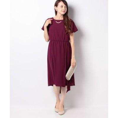 【エイミーパール(ドレス)】ネックレス付きサイドプリーツドレス