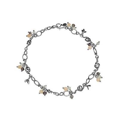 特別価格PAZ CREATIONS .925 Sterling Silver Gemstone Charm Anklet (9)好評販売中