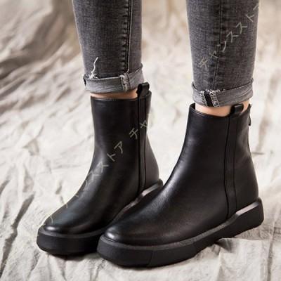 厚底 ブーツ レディース ショートブーツ ヴィンテージ サイドジップ 合成皮革 歩きやすい カジュアル 柔らかい フラット ファスナー付き 黒 大きいサイズ 幅広