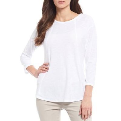 ウエストバウンド レディース Tシャツ トップス Petite Size 3/4 Sleeve Seam Solid Cotton Blend Tee