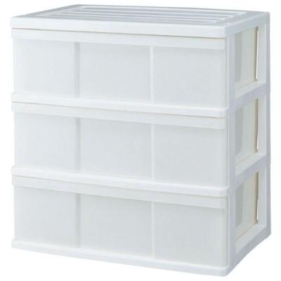 ワイド収納ケース/衣類収納 3段 〔ホワイト〕 幅60cm 日本製 〔ベッドルーム 寝室〕 〔組立式〕