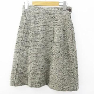 【中古】バリー BALLY 膝丈 台形 スカート 38 灰系 グレー ツイード 裏地 毛 ウール  レディース