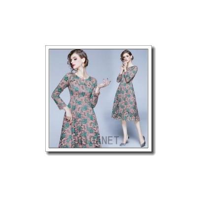 パーティードレス結婚式ドレス花柄ワンピース20代30代40代ウェディングドレス二次会ブライズメイドミモレ丈演奏会用エンパイア着痩せ