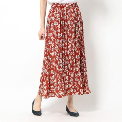 ジーラ GeeRA アコーディオンプリーツスカート (オレンジ系花柄)