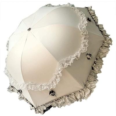 haos折りたたみ傘 日傘 雨傘 兼用 花 薔薇 フリル ドーム 型 UV 日焼け 対策 遮光 裏も 可愛い ロリータ