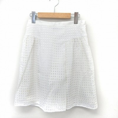 【中古】アンタイトル UNTITLED スカート フレア サイドジップ 格子柄 シンプル 1 ホワイト /ST42 レディース 【ベクトル 古着】