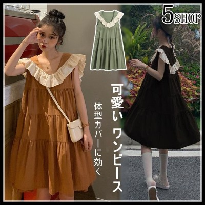 [55555SHOP]✨すごく可愛いです!✨体型カバーに効く ワンビース💖春夏新商品 袖なしドールドレス💖韓国風 大人気 可愛い 袖なし フリル ワンビース  着回し抜群 !