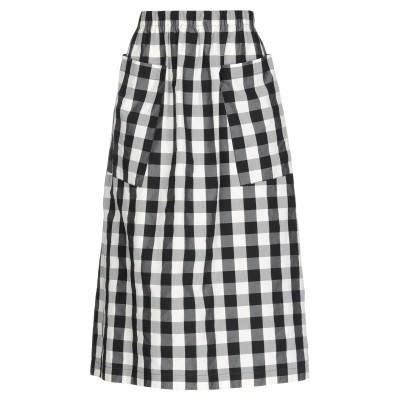 テッサ .TESSA 7分丈スカート ブラック 44 コットン 100% 7分丈スカート
