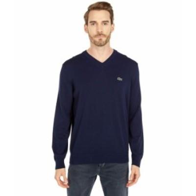 ラコステ メンズ ニット・セーター アウター Long Sleeve Solid V-Neck Sweater Navy Blue