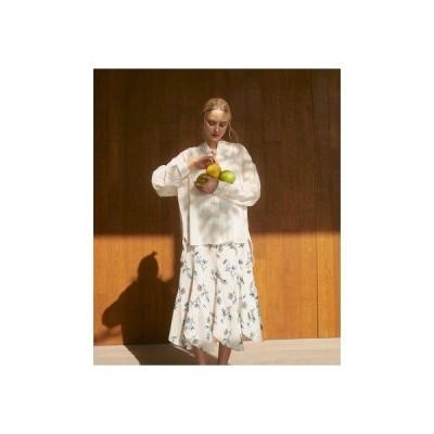 ザ ヴァージニア TheVirgnia デジタルフラワー柄エスカルゴスカート (オフホワイト)