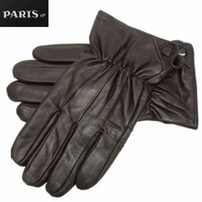 ◆手袋◆PARIS16e 羊革/シープスキン チョコ茶 メンズ グローブ メール便可 LAM-N08-BR