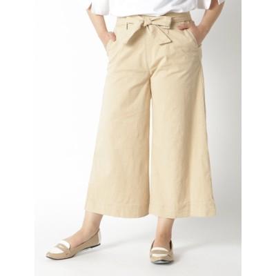【大きいサイズ】リボン付ストレッチワイドパンツ 大きいサイズ パンツ レディース