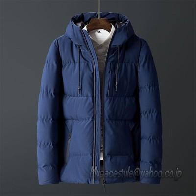 中綿ジャケット メンズ 無地 カジュアル ボーダー ゆったり目 フード付き 取り外し不可 アウター 秋冬 防風 防寒 保温 カジュアル ブルゾン