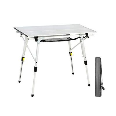 PORTAL アウトドア 折りたたみ ポータブル ピクニック キャンプ テーブル 高さ調節可能 アルミ製ロールアップテ