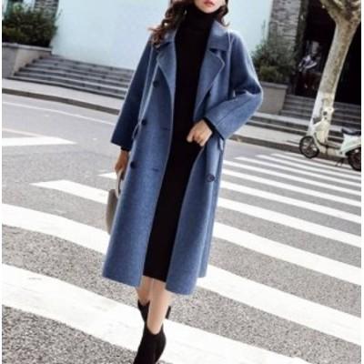 即納 アウター レディース コート チェスターコート ミドル ロング ダブルボタン 秋冬 大きいサイズ 韓国 アウター レディース コート