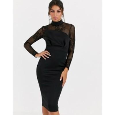 エイソス レディース ワンピース トップス ASOS DESIGN long sleeve lace scuba mix pencil midi dress Black