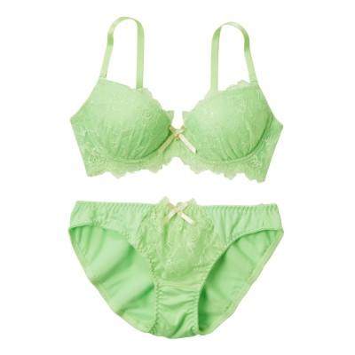 マカロンパステルブラジャー。ショーツセット(脇高タイプ)(B70/M) (ブラジャー&ショーツセット)Bras & Panties