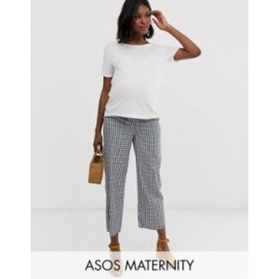 エイソス レディース カジュアルパンツ ボトムス ASOS DESIGN Maternity casual gingham straight leg pants Gingham