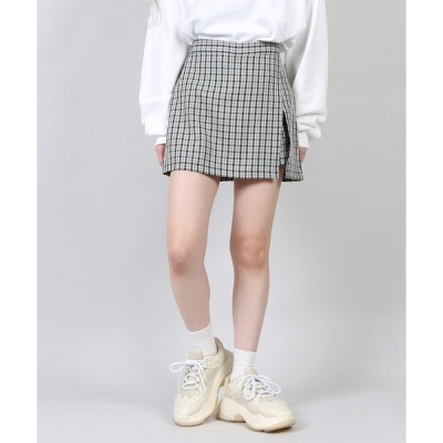 スカート DING/チェックスリットミニスカパン