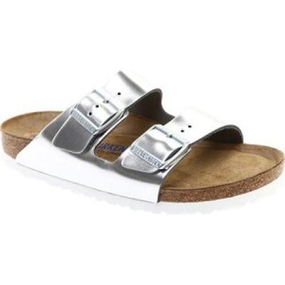 ビルケンシュトック Birkenstock レディース サンダル・ミュール シューズ・靴 Arizona Soft Footbed Leather Sandal Metallic Silver Le