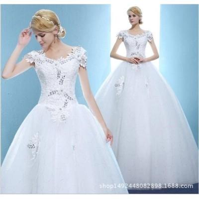 特価激安安い花嫁ドレスウェディングドレスウエディングドレス編み上げレース刺繍ドレスロングドレス花嫁ドレスベアトップ二次会