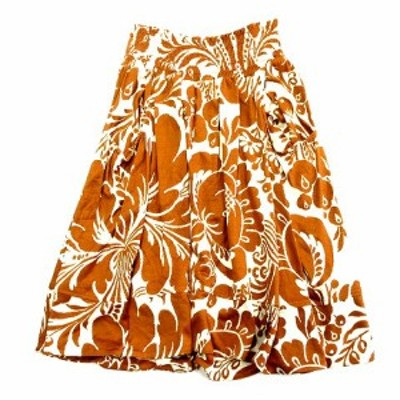 【中古】ダイアンフォンファステンバーグ DIANE von FURSTENBERG シルク100% SUNFLOWER サンフラワー 花柄 スカート 2