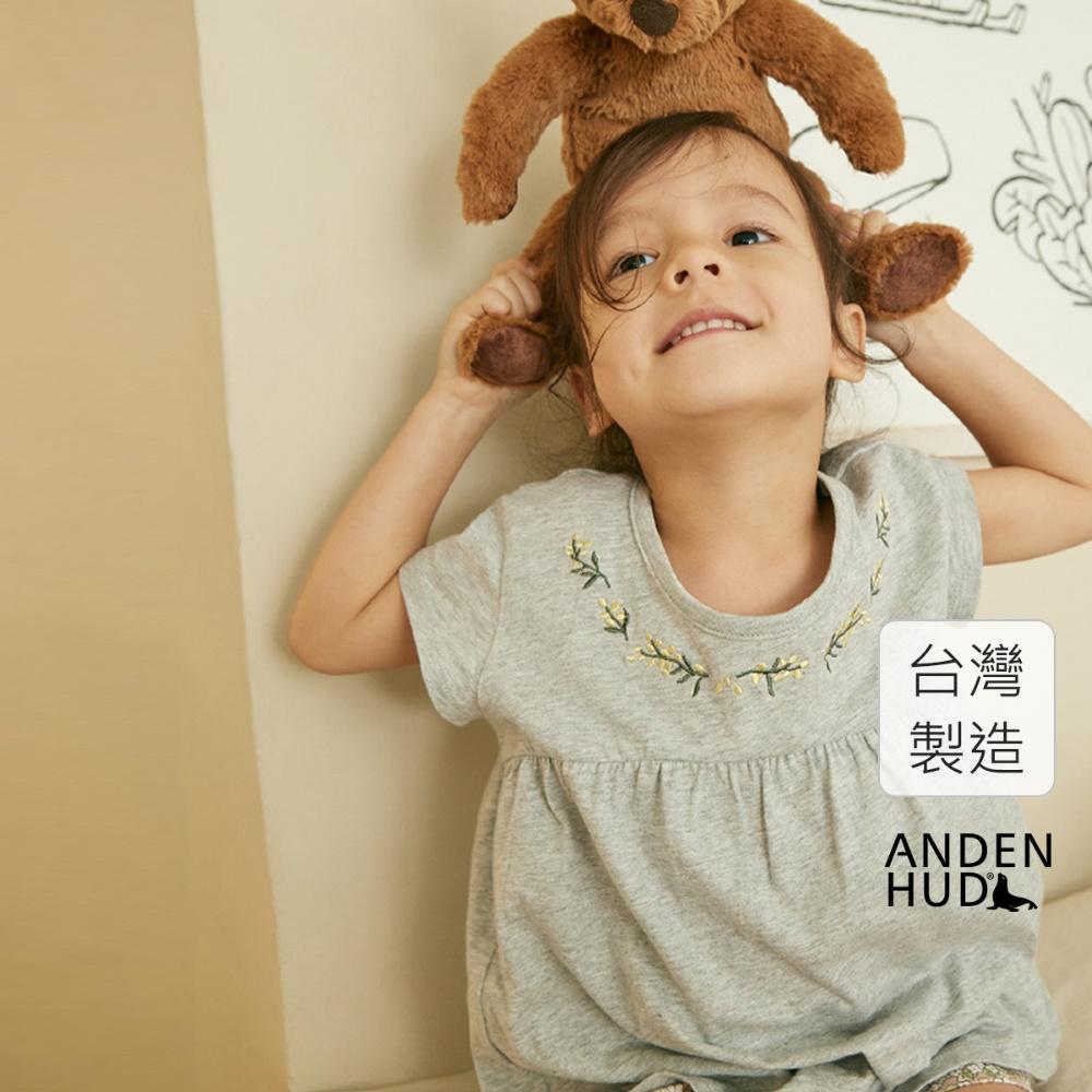 【Anden Hud】女童成套_夏日花園.拼接短袖睡衣(淺麻灰-小花環) 台灣製