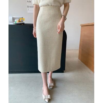 [minsshop] カラフルメランジバックスリットスカート