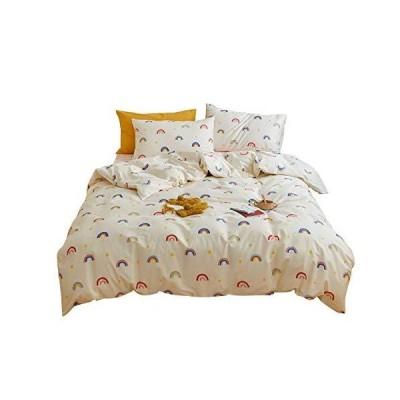 AOJIM 日本のクラシックフラワー コットン100% 布団カバーセット 色落ちしない寝具セット 掛け布団カバー1枚 枕カバー2枚付き 軽量 ソフト