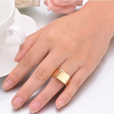 指輪 リング メンズ 男性用 メンズアクセサリー 鋼色 スチールグレー ゴールド ブラック 太め 大き目 無地 シンプル 四角 デザイン ステンレス