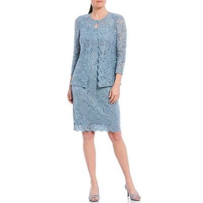 マリナ レディース ワンピース トップス Scalloped Glitter Lace 2 Piece Jacket Dress