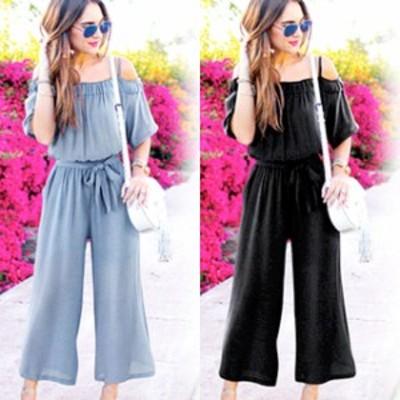 パンツ サロペット ワイドパンツ 青 黒 夏 レディース リボン 大きいサイズ #2678