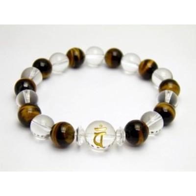 水晶 金彫り 守護梵字 1ポイント タイガーアイ&水晶 ブレスレット 天然石 風水 パワーストーン