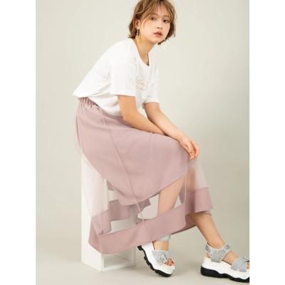 セシルマクビー CECIL McBEE チュール重ねロングスカート (ピンク)