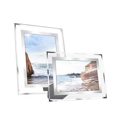 dedoot ガラス写真フレーム 6x8インチ 2パック シルバーフォトフレーム 写真ディスプレイスタンド 卓上用