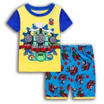 《送料無料》ディズニー きかんしゃトーマス Tシャツ パジャマ キッズ 子供服 ジュニア 上下セット 半袖&短パン 90-130cm 春夏 薄手綿100%