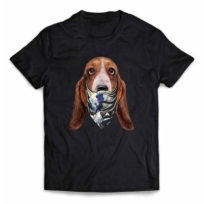 【バセットハウンド ドッグ 犬 いぬ 浮世絵 バンダナ】メンズ 半袖 Tシャツ by Fox Republic