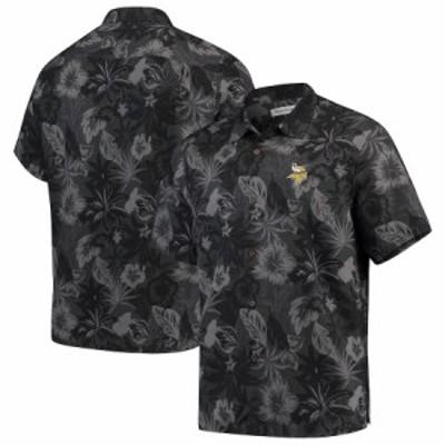 """トミーバハマ メンズ カジュアルシャツ """"Minnesota Vikings"""" Tommy Bahama Fuego Floral Woven Button-Up Shirt - Black"""