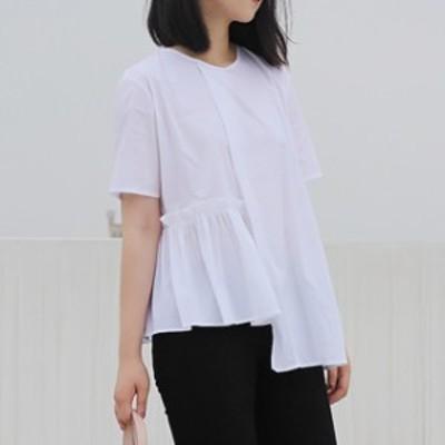 バックプリーツ Tシャツ レディーストップス 綿 クルーネック 半袖 無地 ゆったり 大人可愛い シンプル 通勤 オフィス 春夏