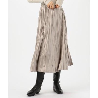 【Ballsey】レザーライクサテンプリーツ ミディスカート