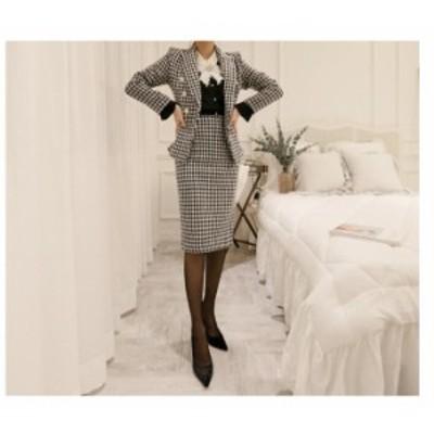 チェック柄 キャパドレス 2点セット セットアップスーツ フォーマル 事務服 スカートセット 通勤 就活 ビジネス カジュアル OL