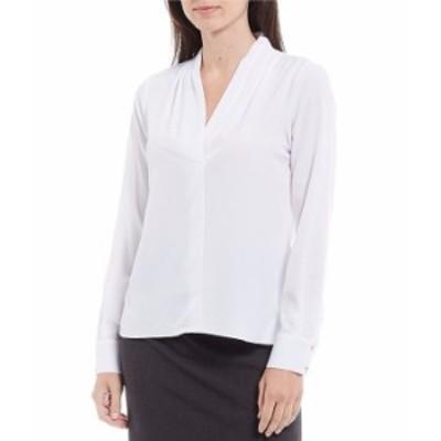 カルバンクライン レディース シャツ トップス Petite Size Georgette V-Neck Shoulder Pleat Long Sleeve Blouse White