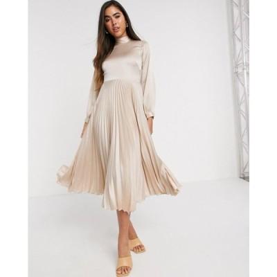 クローゼットロンドン Closet London レディース ワンピース ワンピース・ドレス high neck satin pleated midaxi dress in cream クリーム