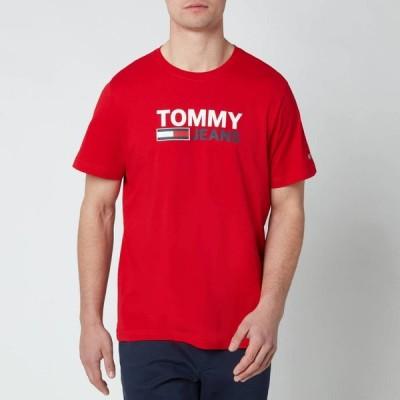 トミー ジーンズ Tommy Jeans メンズ Tシャツ トップス Corporation Logo T-Shirt - Deep Crimson Red