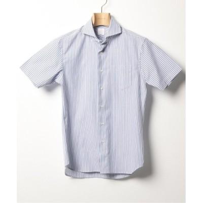 【エディフィス】 カッタウェイカラー ショートスリーブ ドビーストライプ シャツ メンズ ネイビーA 37 EDIFICE