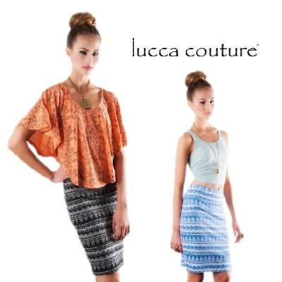 ルッカクチュール スカート ひざ丈 タイト 大きいサイズ ハイウエスト 春 夏 リゾート Lucca Couture